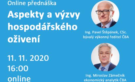 11. listopadu 2020 Online přednáška: Aspekty a výzvy hospodářského oživení