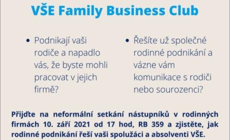 """10. září: První setkání """"VŠE Family Business Club"""""""